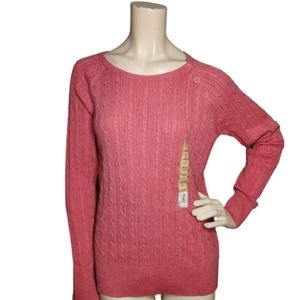 NEW Sonoma Womens Pink Cable Knit Pullover Cotton